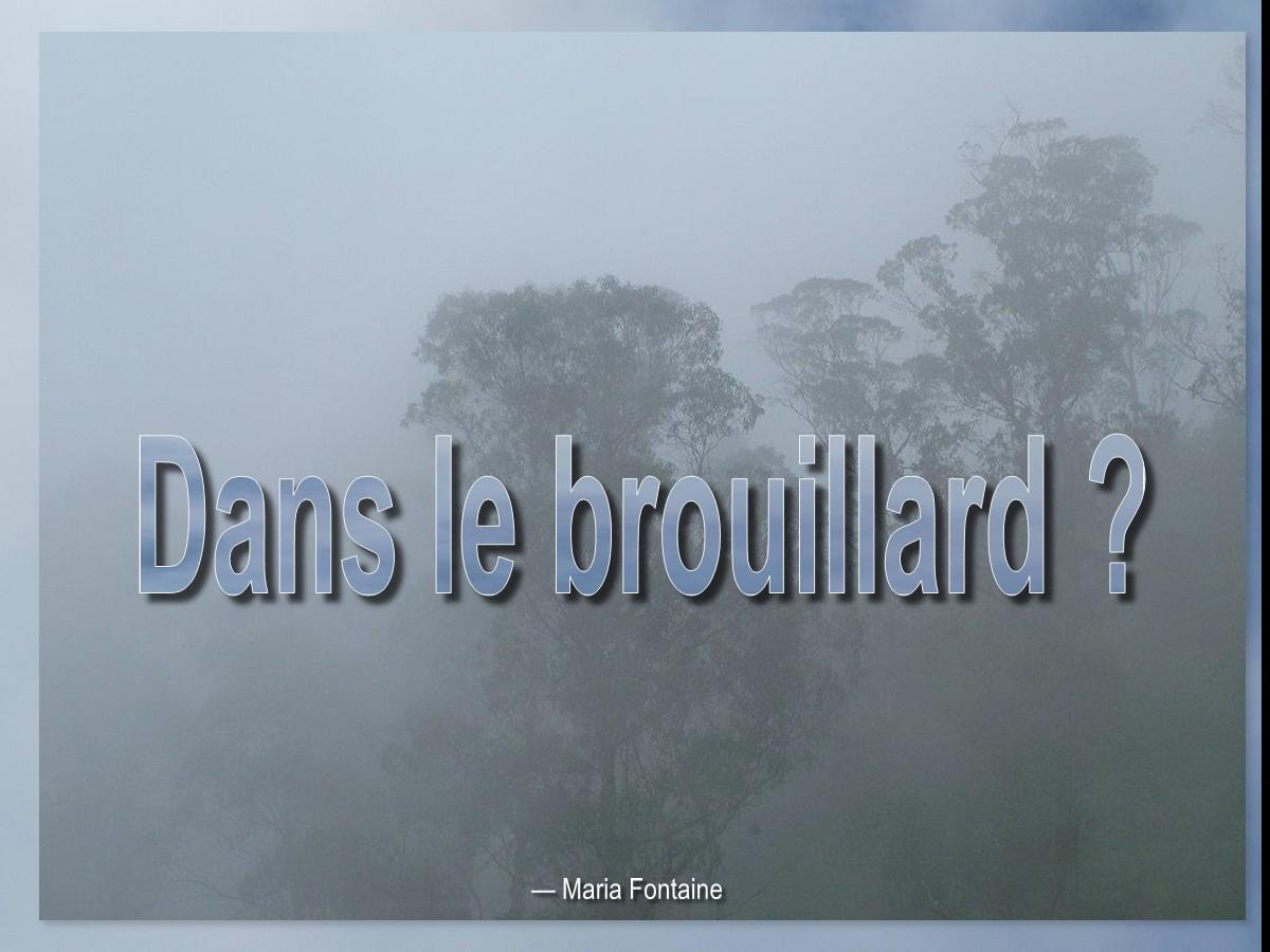 Dans le brouillard ? French: [In a Fog]